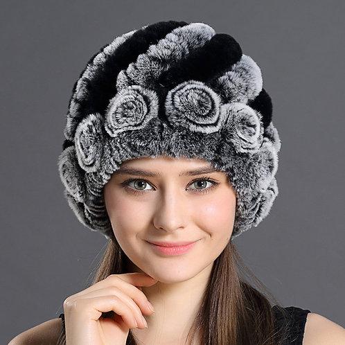 DMC04 Knit Rex Rabbit Fur Beanie Hat