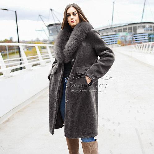 DMGT14F Fleece Wool Coat With Fox Fur Collar - Dark Grey