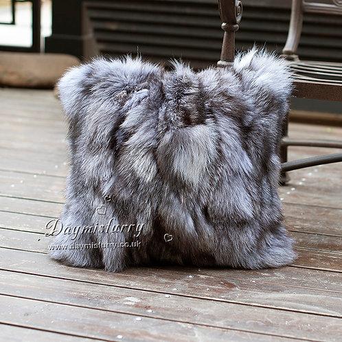 DMD52 Pieced Silver Fox Fur Pillow Cover
