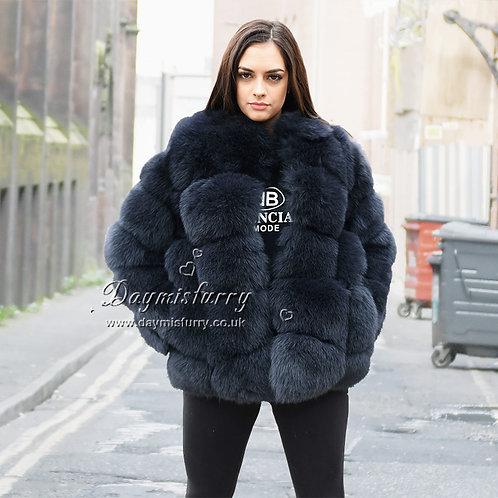DMGA114C Extremely luxury Fox Fur Jacket - Navy