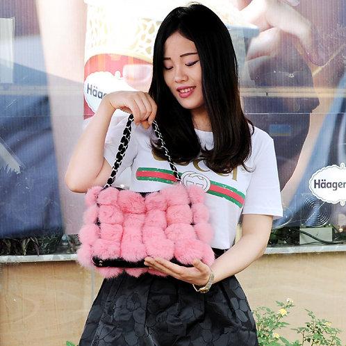 DMH11F Rabbit Fur Ball Lady Hand Bag In Pink