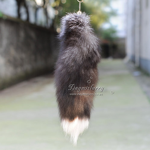 DMR17 Full Silver Fox Fur Tail Bag Charm