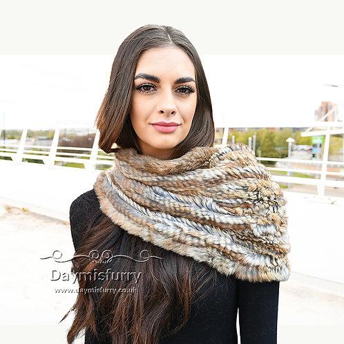 DMS26C Rabbit Fur Chunky Knit  Scarf