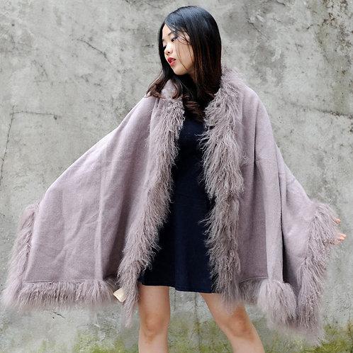 DMBP01C Mongolian Lamb Fur Blanket Cape