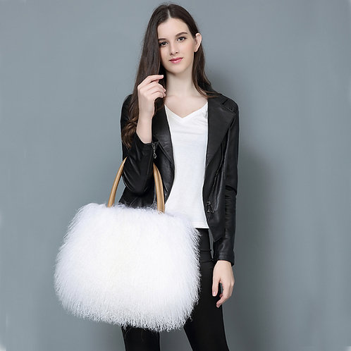 DMH24E White Mongolian Lamb Fur Lady Hand Bag