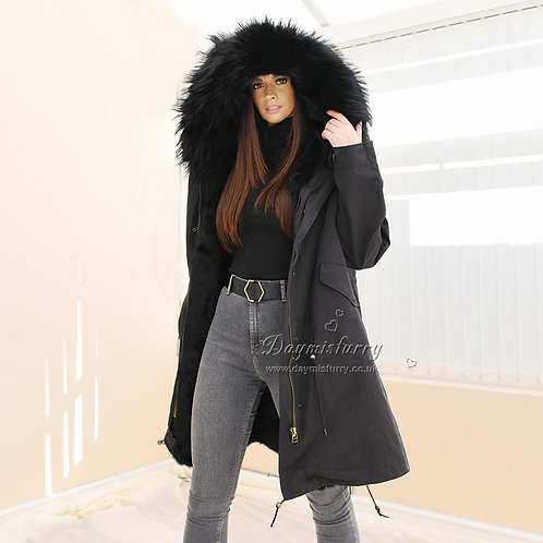 DMGP35G Rabbit Fur Jacket Parka Coat with Raccoon Fur Collar