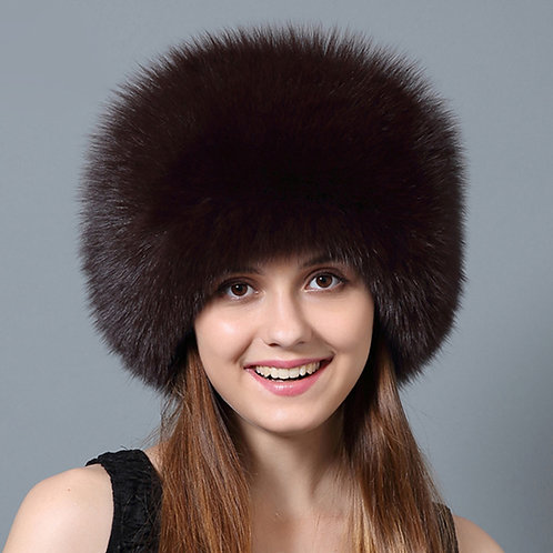 DMC77C Dyed Fox Fur Hat with Rex Rabbit Fur Top
