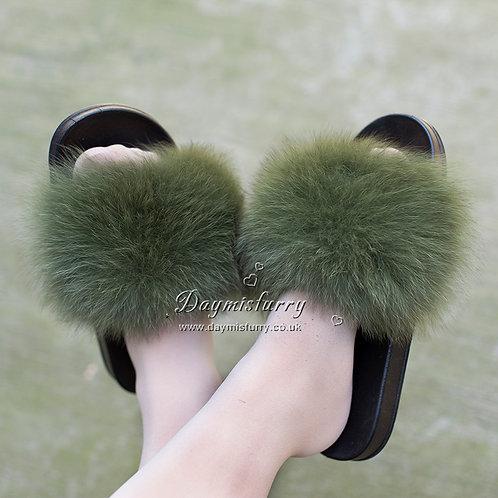 DMA70  Fox Fur Slipper - Forest Green