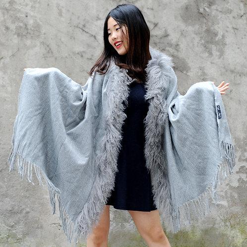 DMBP04B Light Grey Mongolian Lamb Fur Blanket Shawl