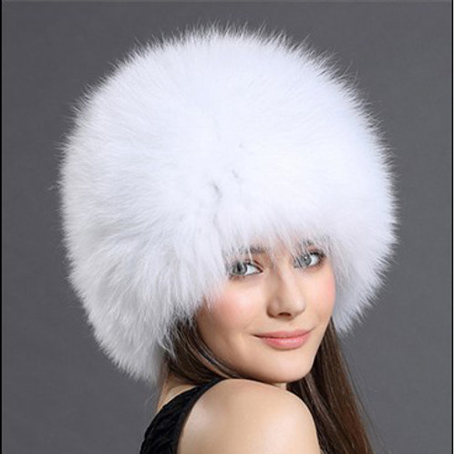 DMC215E Knit Finn White Fox Fur Hat
