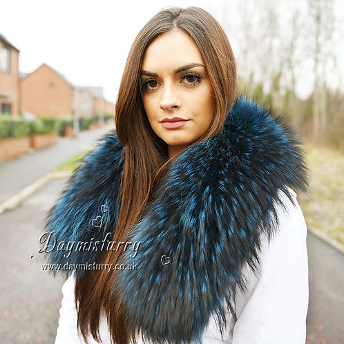 DMA49B Large Detachable  Raccoon Fur Collar