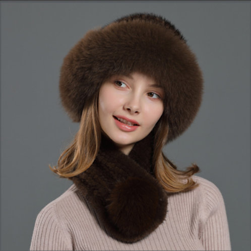 DMC99C  Fox Fur Roller Mink Fur Hat With Matching Mink Fur Scarf
