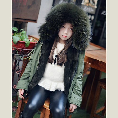 DMGC11C  Children 's Rex Rabbit Fur Parka With  Raccoon Fur Hood