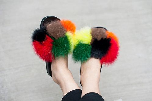 DMA83Y Fox Fur Slides - Baked Clay