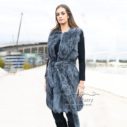 DMGB40H Pieced Rabbit Fur Vest With Belt - Dark Grey