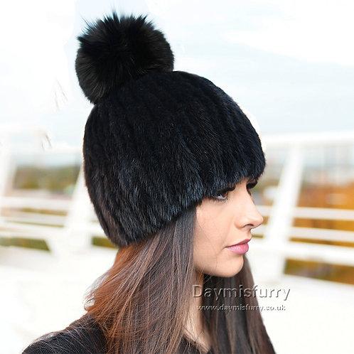 DMC164E Black Mink Fur Beanie Hat With Fox Fur Pom Pom
