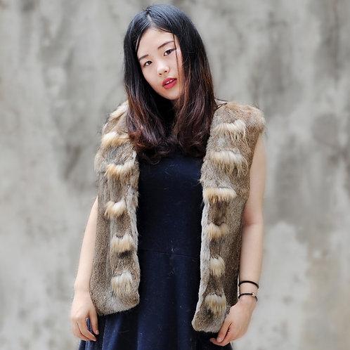 DMGB187  Rabbit Fur Gilet with Raccoon Fur Trim