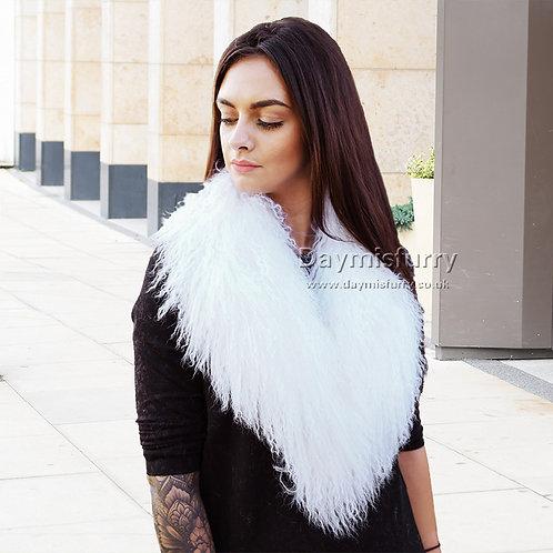DMA52D Detachable Mongolian Lamb Fur Collar - White