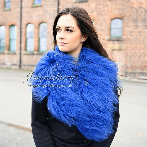 DMA52H Detachable Mongolian Lamb Fur Collar In Blue