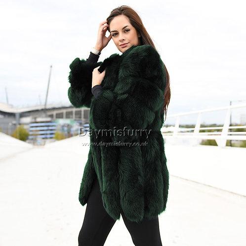 DMGA218G Luxury Vertical Stripes Fox Fur Jacket