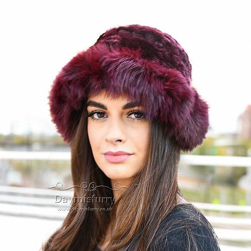 DMC02F  Rex Rabbit Fur Hat With Fox Fur Trim
