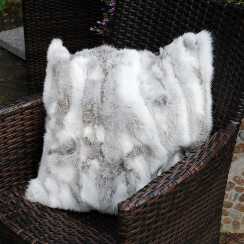 DMD40A Pieced Rabbit Fur Pillow Cover In Natural Grey Adorable Rabbit Fur Pillow Cover