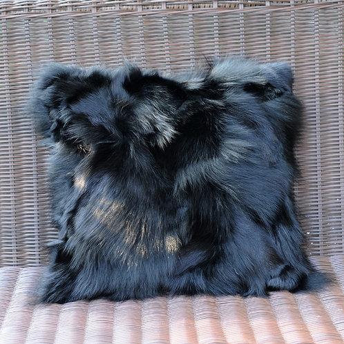 DMD101 Black PatchWork Fox Fur Pillow Cushion Cover