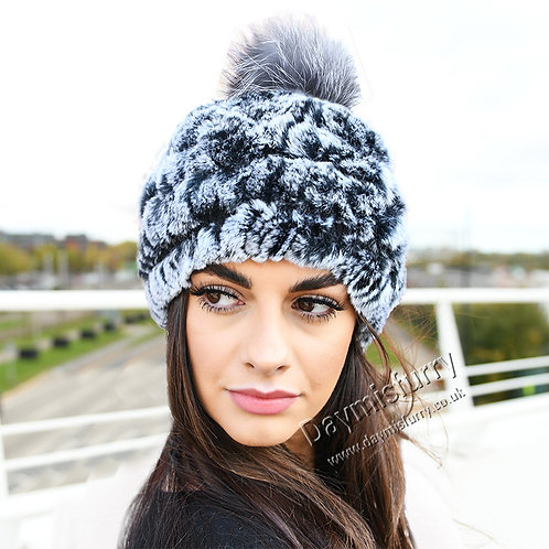 DMC78C Knit Rex Rabbit Fur Beanie Hat With Fox Fur Pom