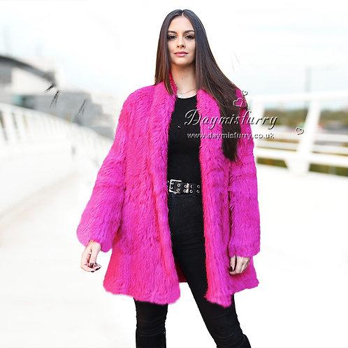 DMGA139F Knitted Rabbit Fur Jacket Cardigan - Hot Rose