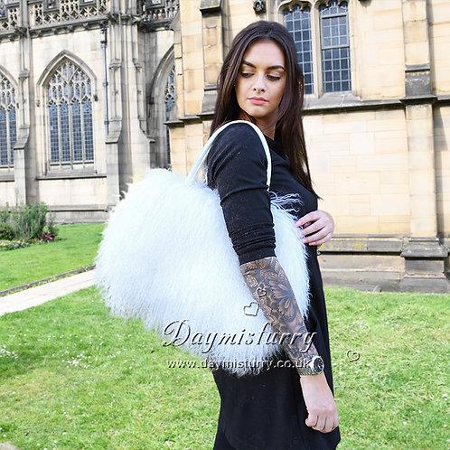 DMH24 White Mongolia Lamb Fur Shoulder Bag  for Women Tote Fur Bag
