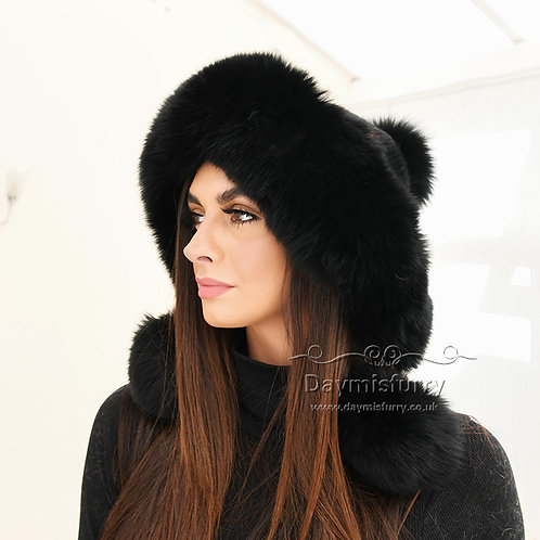 DMC247C  Cashmere Knit Hat  With  Fox Fur Ball and Trim