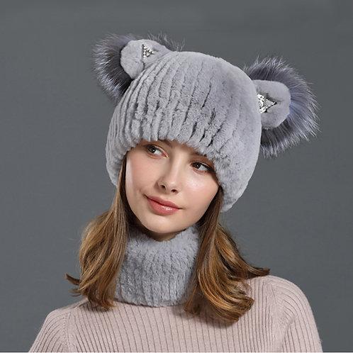 DMC97 Rex Rabbit Fur Beanie and Scarf Set / Winter Neck and Head Wear