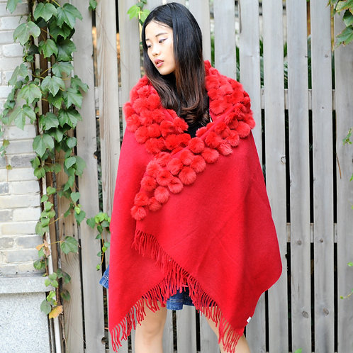 DMBP38A Cashmere Lady Cape with Rabbit Fur PomPom In Red