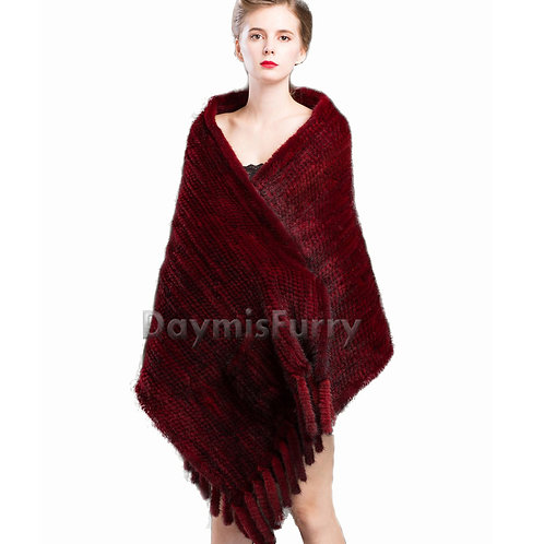 DMBM25C Knitted Mink Fur Shawl with Fringes In Wine Red