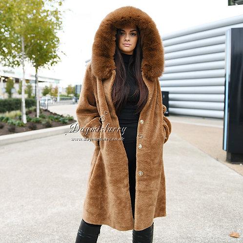 DMGT05B Camel Shealring Coat WIth Fox Fur Trim