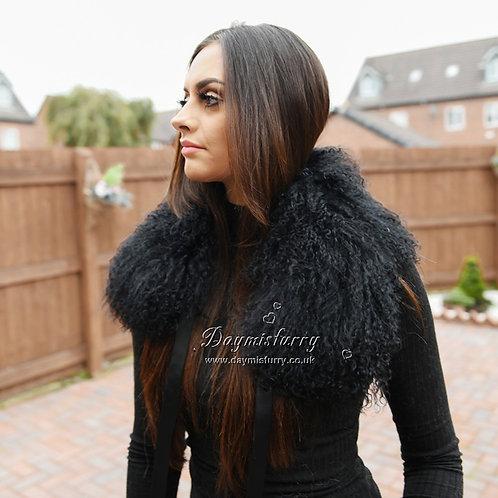 DMA16B Black Mongolian Lamb Fur Collar / Scarf
