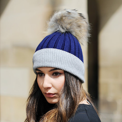 DMC45J  Wool Beanie Hat With Raccoon Fur Pom Pom