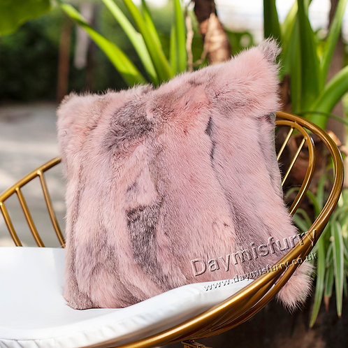 DMD17S Pieced Rabbit Fur Pillow Case Cushion Cover