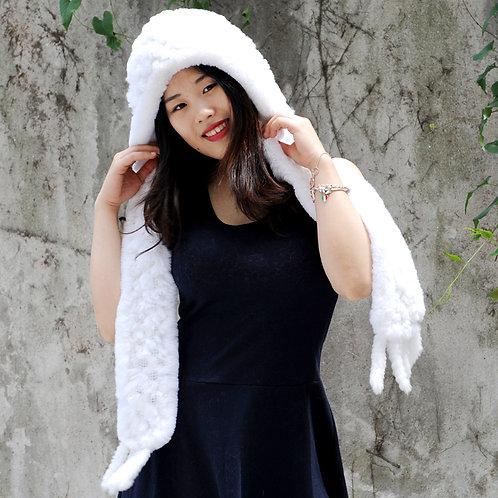 DMC17E Pure White Knit Rex Rabbit Fur Scarf With Hood