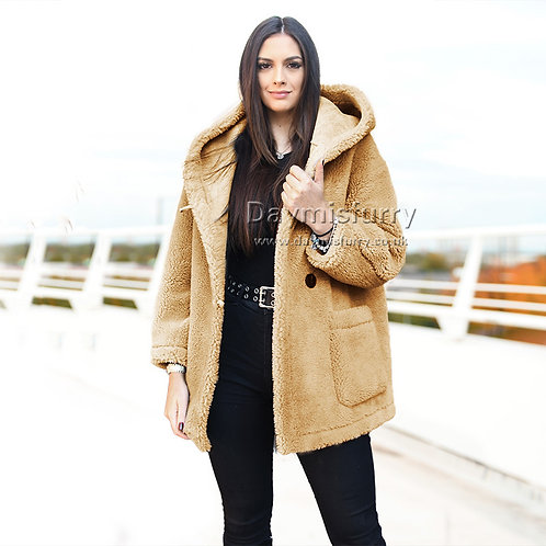 DMGT13C Women Fuzzy Jaket / Oversize Hooded Teddy Coat