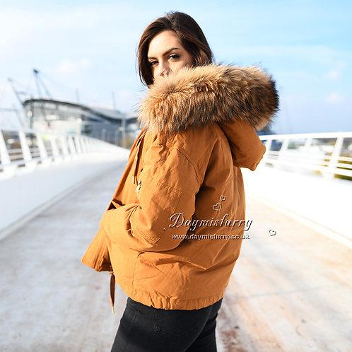 DMGD10B Golden Down Jacket With Racccoon Fur Collar