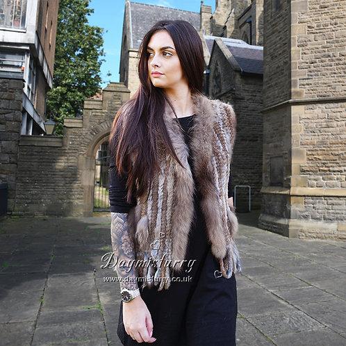 DMGB57 Knit Rabbit Fur Vest with Finn Raccoon Fur Trim