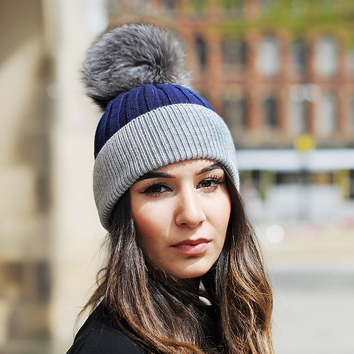 DMC45S  Wool Beanie Hat With Silver Fox Fur Pom Pom