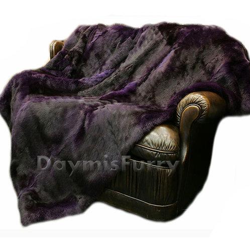 DMD05D Full Pelt Rabbit Fur Blanket / Fur Throw