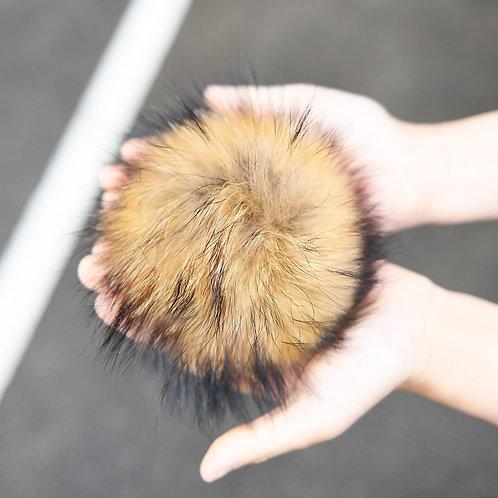 Raccoon Fur Pom Pom Brooch Pin / Toque Pin