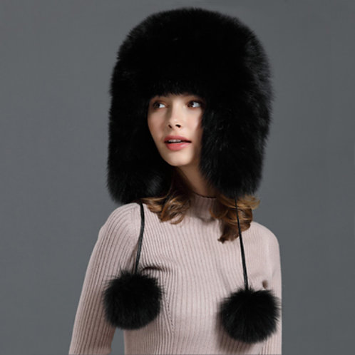 DMC132A Unisex Fox Fur Trapper Hat Winter Hat Protection Ear Muff