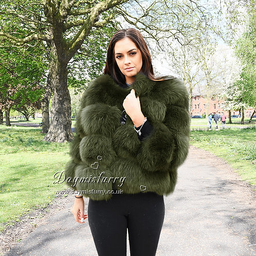 DMGA11F  Luxury  Fox Fur Jacket - Forest Green
