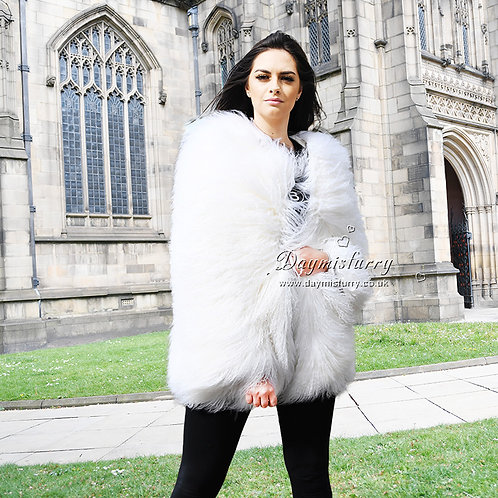 DMGA270B Mogolian Lamb Fur Lady Coat - White