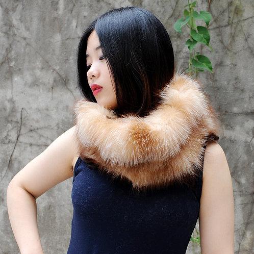 DMS183D Plush Natural Red Fox Fur Snood Scarf
