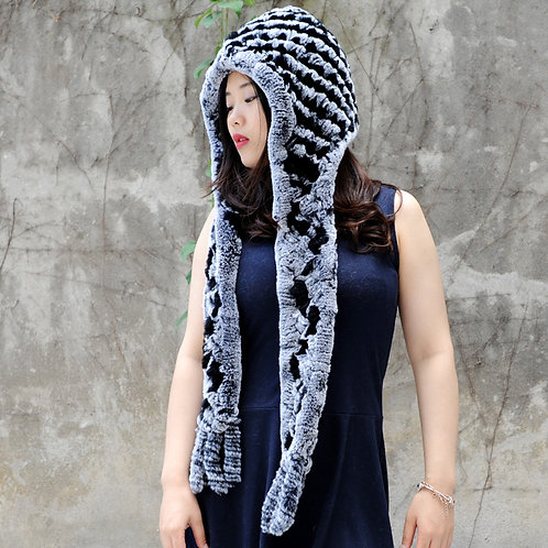 DMC17G Knit Rex Rabbit Fur Scarf With Hood In Black And Grey